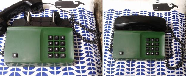 Teléfono vintage sueco de color verde a teclas. Teléfono vintage años 70 de color verde procedente de Suecia para comprar online o en Barcelona en Ciclos Riera.